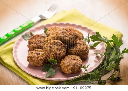 meatballs with parsley, selective focus