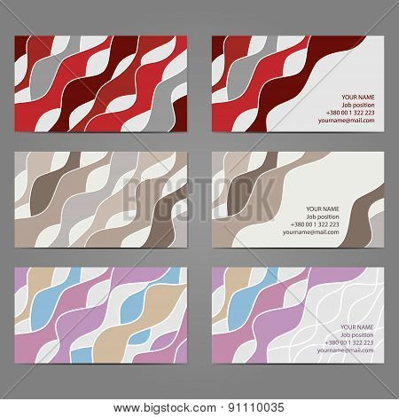Set 2 Of 3 Horizontal Business Cards With 2 Sides. Eps8 Vector.