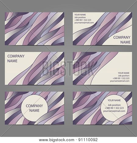 Set 6 Of 3 Horizontal Business Cards With 2 Sides.
