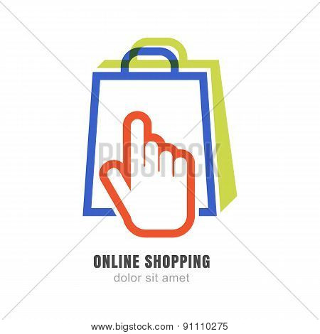 Vector Logo Design Template. Hand Pointer Symbol And Shopping Bag. Abstract Concept For Online Store