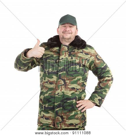 Man in military vest.