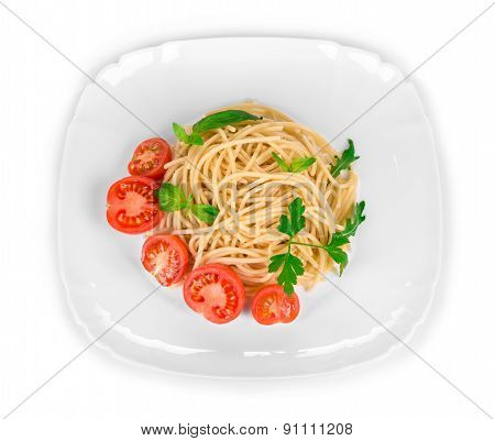 Tasty italian pasta with seafood.