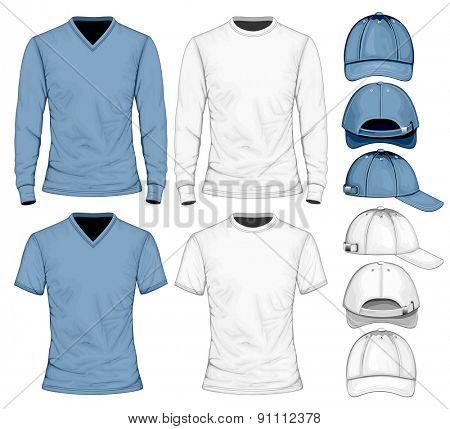 Men's t-shirt long and short sleeve and baseball caps.  Vector illustration.