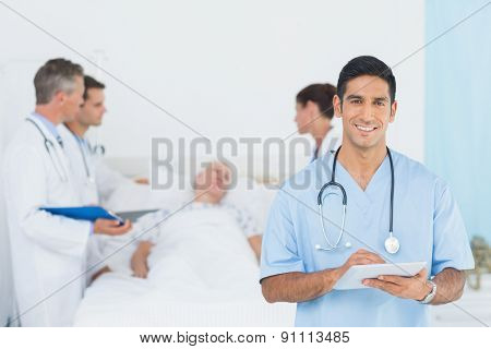 Doctor explaining report to female patient in the hospital
