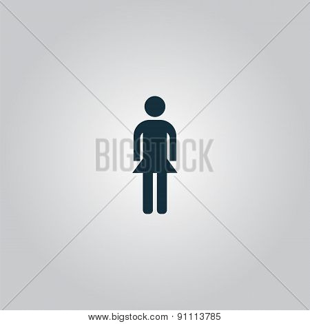 Simple vector woman icon on white background