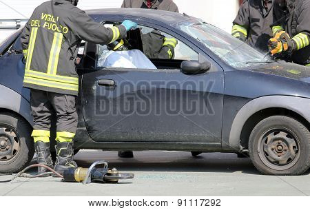 Firefighters During A Practice Of Road Accident Simulation