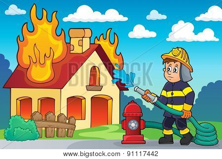 Firefighter theme image 2 - eps10 vector illustration.