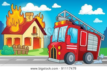 Fire truck theme image 3 - eps10 vector illustration.