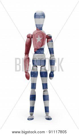 Wood Figure Mannequin With Flag Bodypaint - Cuba