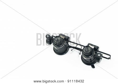 Microscope Eyes Glasses Tools Isolated