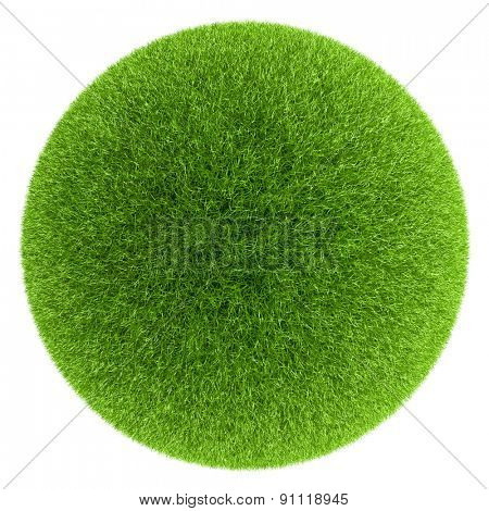 Sphere covered with green grass isolated on white background.