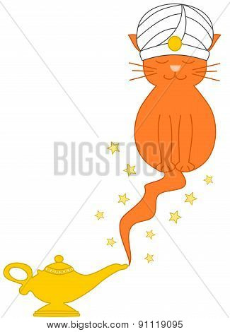 Cat genie lamp funny cartoon illustration