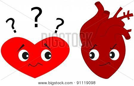Heart versus real human heart cartoon illustration