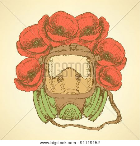 Sketch Respiratory Mask With Poppies In Vintage Style