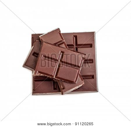 milk chocolate isolated on white background
