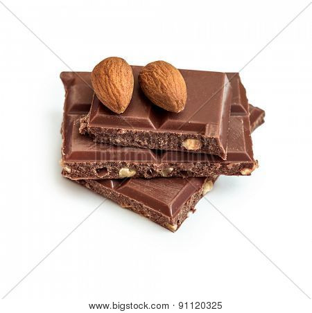 milk chocolate with almonds isolated on white background