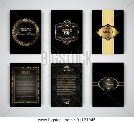 Collection of gold and black brochure and menu templates