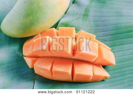 Ripe Mango With Slices On Banana Leaves