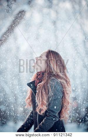 happy funny girl in winter