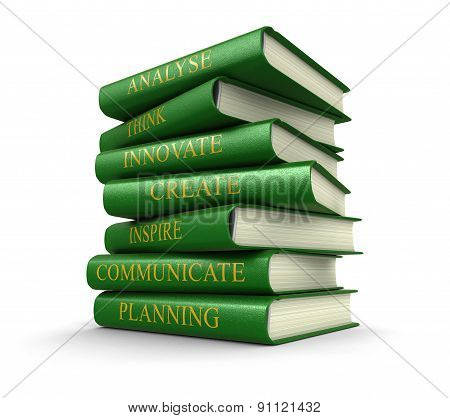 Stack of success related books (clipping path included)