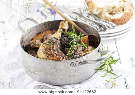Chicken in red wine sauce  - Coq au Vin