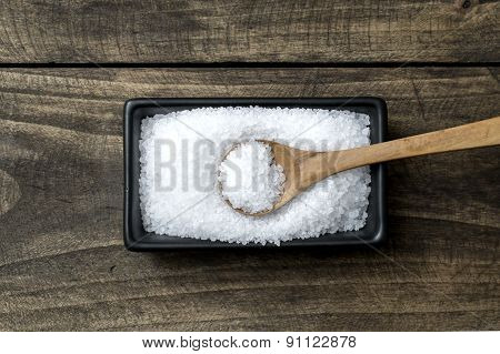 Sea Salt In  Bowl And Spoon