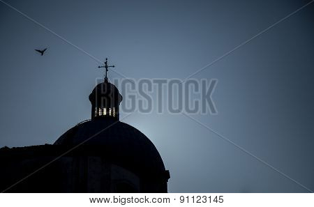 silhouette of a church dome