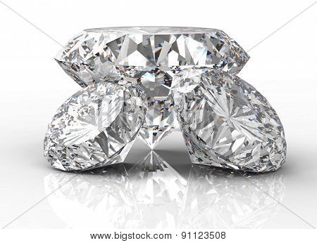 Three Diamonds Isolated On White