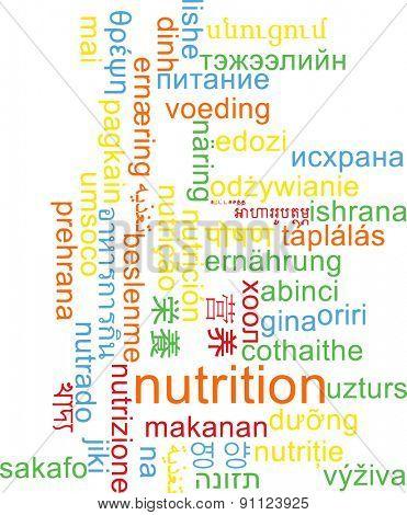Background concept wordcloud multilanguage international many language illustration of nutrition