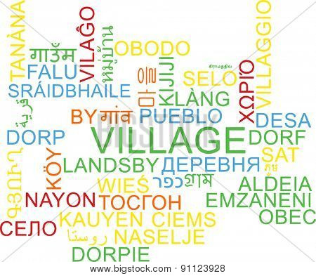 Background concept wordcloud multilanguage international many language illustration of village