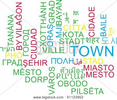 Background concept wordcloud multilanguage international many language illustration of town
