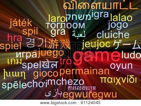 Background concept wordcloud multilanguage international many language illustration of game glowing light