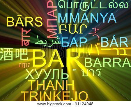 Background concept wordcloud multilanguage international many language illustration of bar glowing light