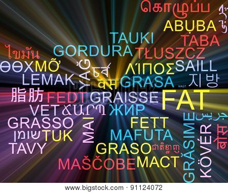 Background concept wordcloud multilanguage international many language illustration of fat glowing light