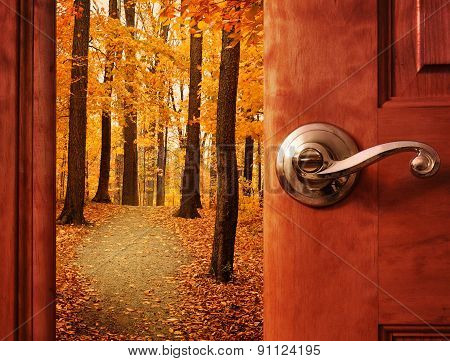 Open Door Into Fall Season Dream