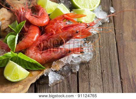 Raw Shrimps With Lime And Basil