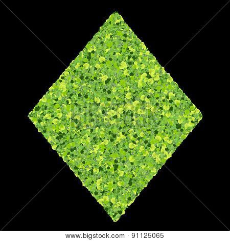 Playing card eco icon diamond, made from green leaves.
