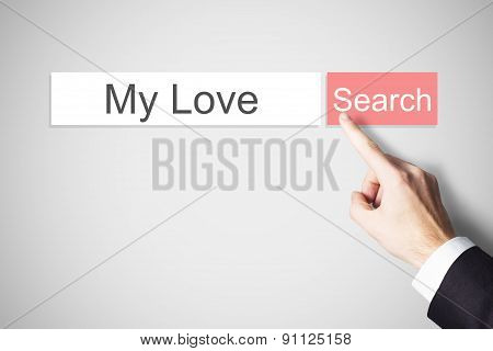 Finger Pushing Websearch Button My Love