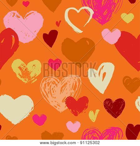 Seamless red hand drawn doodle pattern with hearts. Valentines day, wedding invitation background