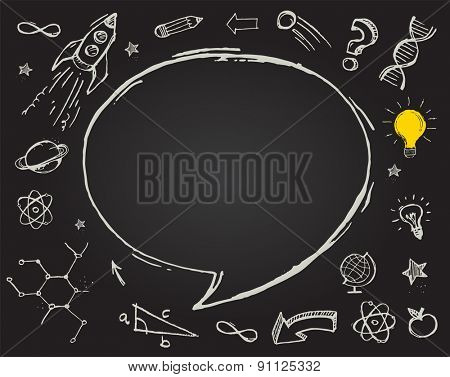 Hand drawn vector doodles - education, science and learning with school objects