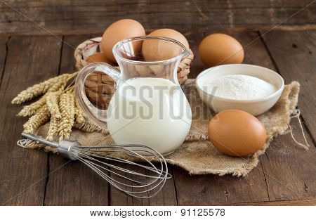 Milk, Flour, Wheat, Whisk And Eggs