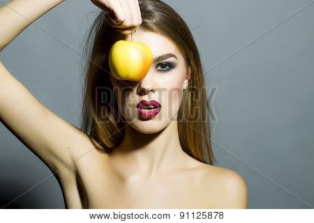 Pretty Young Sexy Girl With Apple