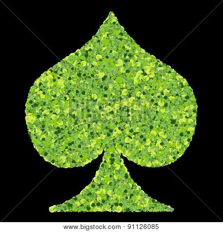 Playing card eco icon spades, made from green leaves.