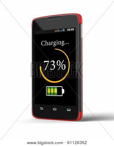 Wireless charging of smartphone (clipping path included)