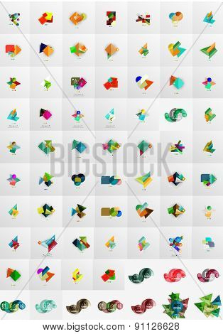 Geometric banners, templates, layouts. Paper graphics. Mega collection. Modern compositions
