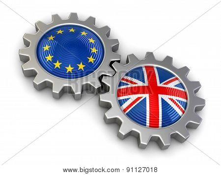 British and European union flags on a gears (clipping path included)