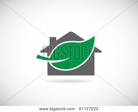 house green leaf icon concept design