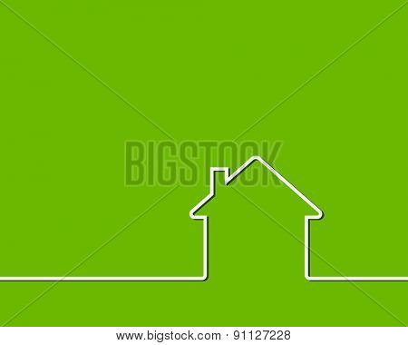 house outline green green background concept