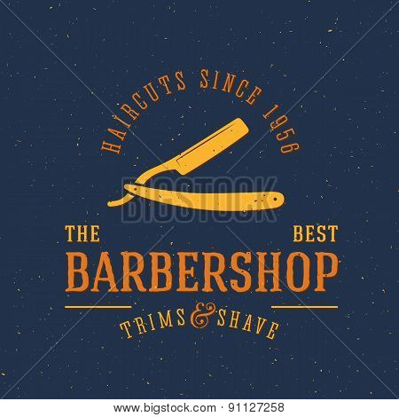 Barbershop Vector Vintage Label or Logo Template with Retro Typography and Grunge Shabby Textures