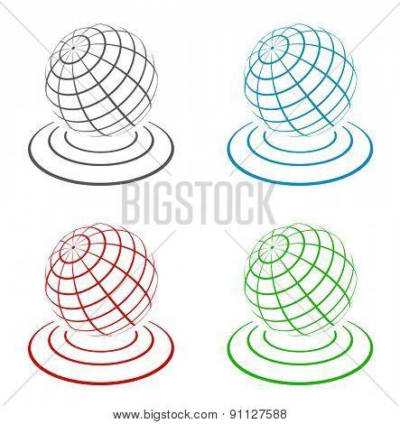 globe 3d icon design